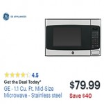 BestBuy.com deals on GE 1.1-cu.ft. Mid-Size Microwave