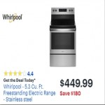 BestBuy.com deals on Whirlpool 5.3-cu.-ft. Freestanding Electric Range Stainless Steel