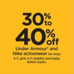 Kohls deals on Under Armour And Nike 30% to 40% off Girls, Toddler, Baby, Boys Activewear