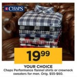 Chaps Performance Mens Flannel Shirts or Crewneck Sweaters Deals