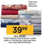 Kohls deals on Croft & Barrow Cotton Quilts Or The Big One Quilts and Sham Sets