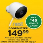 Kohls deals on Nest Cam Outdoor Security Camera + Free $45 Kohls Cash