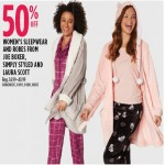Sears deals on 50% off Womens Sleepwear & Robes,  Joe Boxer, Simply Styled And Laura Scott