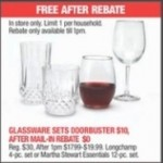 macys deals on Glassware Sets for FREE (After Rebate)