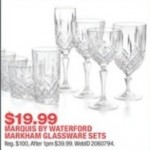 macys deals on Waterford Markham Marquis Glassware Sets