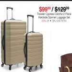 overstock deals on Tarveler Cypress Colorful 2-Piece Hardside Spinner Luggage Set