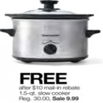 stagestores deals on Kitchen 1.5-qt. Slow Cooker for FREE
