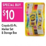 walmart deals on Crayola 65-Pc. Marker Set & Storage Box