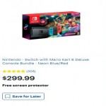 BestBuy.com deals on Nintendo Switch with Mario Kart 8 Deluxe Console Bundle + Free screen protector