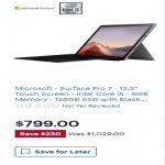 Microsoft Surface Pro 7 12.3-inch Touch w/Intel Core i5, 128GB SSD Deals