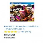 RAGE 2 Standard Edition PlayStation 4 Deals