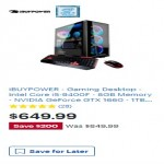 Deals on iBUYPOWER Gaming Desktop w/Intel Core i5-9400F, 8GB RAM