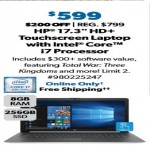 SamsClub.com deals on HP 17-by1971cl 17.3-inch Touch Laptop w/Intel Core i7, 256GB SSD