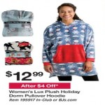 Deals on Lux Plush Womens Holiday Dorm Pullover Hoodie