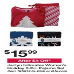 Deals on Jaclyn Intimates Womens Holiday 2-pc. Pajama Set