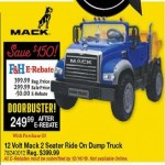 farmhomesupply deals on Mack 12V 2-Seater Ride On Dump Truck