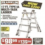 harborfreight deals on Franklin Multi-Task 17-ft. Ladder