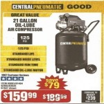 Central Pneumatic 21-gal. 2.5HP 125 PSI Cast Iron Vertical Air Compressor Deals