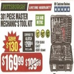 Pittsburgh 301-pc. Master Mechanic's SAE and Metric Tool Kit Deals