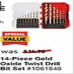 lowes deals on Craftsman 14-pc. Set Gold Ferrous Coated HSS Twist Drill Bit Set