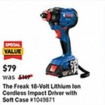 lowes deals on Bosch Freak 18V Cordless Impact Driver