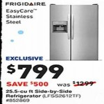 lowes deals on Frigidaire 25.5-cu ft. Side-by-Side Refrigerator LFSS2612TF
