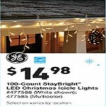 lowes deals on GE StayBright 100-Count White Mini LED Plug-In Christmas Icicle Lights