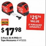 lowes deals on Craftsman 2-Pack 25ft PRO-11 Tape Measures