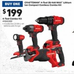 lowes deals on Craftsman 20V Max 4-Tool Power Tool Combo Kit w/Soft Case