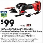 lowes deals on Craftsman 15-Piece 20-Volt MAX Cordless Oscillating Tool Kit w/Soft Case