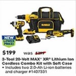 lowes deals on Dewalt 3-Tool 20V Max Power Tool Combo Kit w/Soft Rolling Case