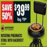 Deals on Northern Tool + Equipment Adjustable Shop Stool with Backrest