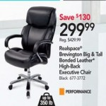 officedepot deals on Realspace Brevington Bonded Leather Big & Tall High-Back Chair