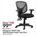 officedepot deals on Realspace MFTC 200 Mesh Multifunction Ergonomic Mid-Back Task Chair