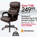 officedepot deals on Realspace Westdale Bonded Leather Big & Tall High-Back Chair