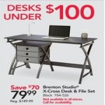 officedepot deals on Brenton Studio X-Cross 48-in. Desk & File Set