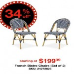 overstock deals on Salcha Indoor/Outdoor French Bistro Navy & White Stacking 2-pc. Side Chair