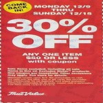 Deals on TrueValue Coupon:30% Off $50 Below Item