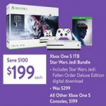walmart deals on Xbox One S 1TB Star Wars Jedi Bundle